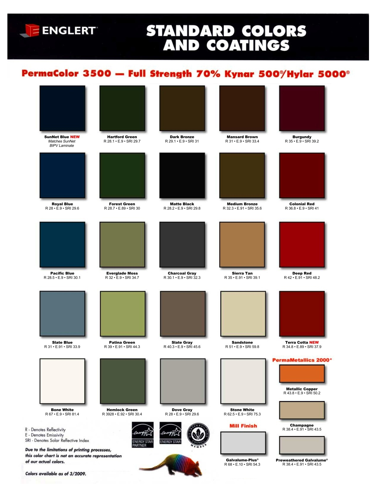Many more colors are available than shown. Click to enlarge